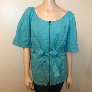 XCVI Size 2X Short Sleeve Green Blouse Zip Up